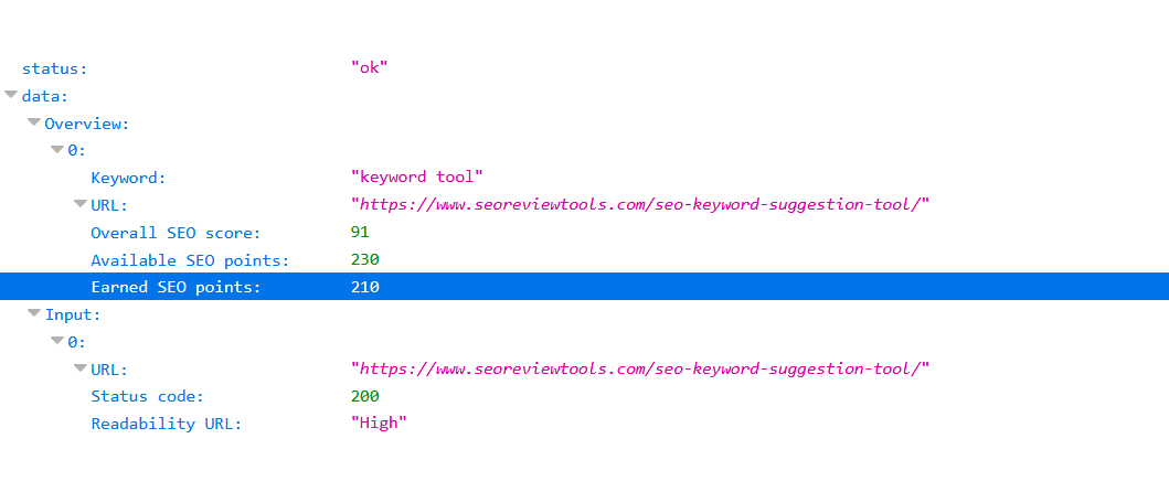 SEO Content Score API JSON