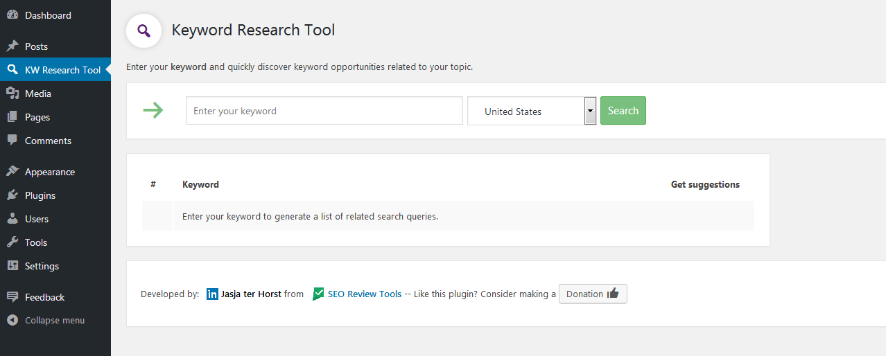 Keyword research tool for WordPress