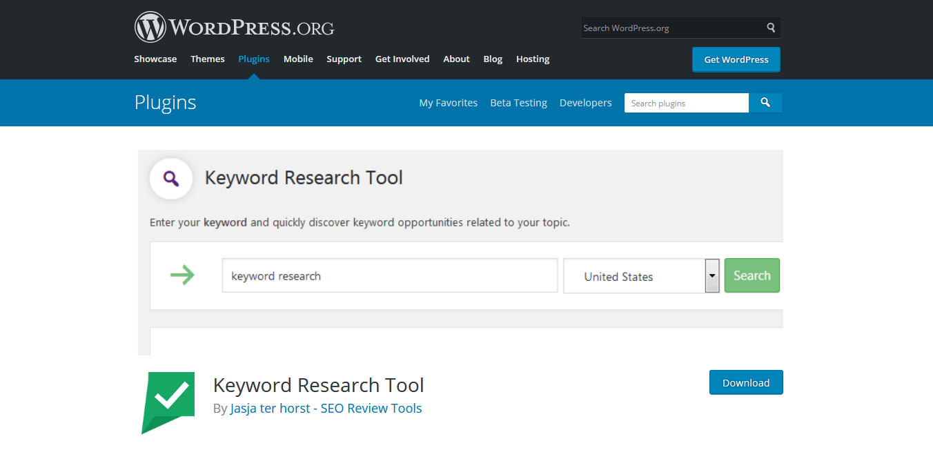 Wordpress plugin Keyword tool